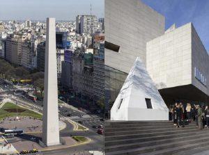 """El artista Leandro Erlich usó al Obelisco como parte de su instalación """"La Democracia del Símbolo"""". Foto: Radio Mitre"""