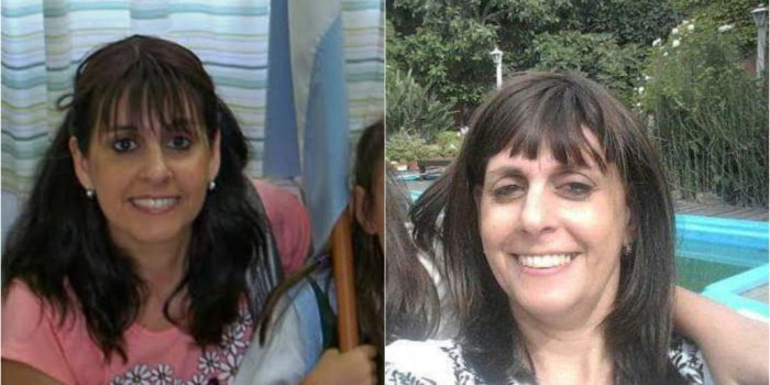 A la izquierda, Silvina Aimé con su cabello natural antes de la quimioterapia. A la derecha, con la peluca que le donaron.
